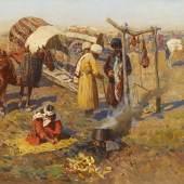 Franz Roubaud (1856-1928) Die Rast in der Steppe   Öl auf Leinwand   46,8 x 76,3 cm Taxe: 40.000 - 60.000 Euro