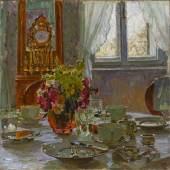 Carl Moll (1861 Wien - 1945 Wien) Der Frühstückstisch Öl auf Leinwand, monogrammiert 60,5 x 60,5 cm  Zur Verfügung gestellt von: Antiquitäten Kunsthandel Freller