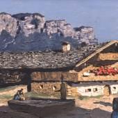 """Alfons Walde (1891 - 1958) """"Waidring"""" Öl auf Karton, links unten signiert, rückseitig Originaletikett mit Betitelung und Datierung 1935, 42 x 67 cm © Kunsthandel Freller"""