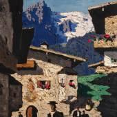 """Alfons Walde (1891 – 1958) """"Sonntag in Tirol"""" Öl auf Karton, signiert,  rückseitig Atelieretikett 1935, 38 x 28,5 cm Foto © Kunsthandel Freller"""