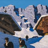 """Alfons Walde, 1891 - 1958,  """"Häuser im Gebirge"""" Öl auf Karton, signiert,  42 x 67,5 cm Foto: © Kunsthandel Freller"""