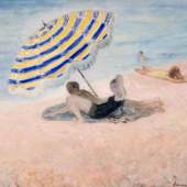 "French post-impressionist painter Henri Labasque's oil on canvas ""Scene de Plage,"" from Guarisco Gallery (Washington th DC), is just of the many museum-quality artworks available to view and purchase at the 18 annual American International Fine Art Fair taking place February 4 – 9 at the Palm Beach County Convention Center."