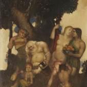Adolf Frey-Moock Der trunkene Sylen Öl auf Schichtholzplatte 37,3 x 29,7 cm