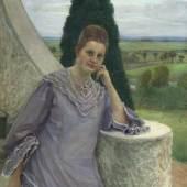 Fritz Mackensen (Braunschweig 1866 - Worpswede 1953) Margarethe Gocht vor dem Barkenhoff in Worpswede Öl/Lw., 128 x 107 cm, r. u. sign. u. dat. Fritz Mackensen Worpswede 1907 Mindestpreis:3.500 EUR