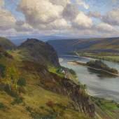 Fritz von Wille (1860 – 1941) Blick über den Rhein auf die Burgruine Hammerstein Öl auf Leinwand | 85 x 110cm Schätzpreis: 6.000 – 8.000 Euro