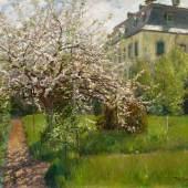 Fritz von Wille (1860 – 1941) Kirschbaumblüten mit Blick auf das Dalbendener Schullandhaus | Öl auf Leinwand | 60 x 70cm Schätzpreis: 1.500 – 2.000 Euro Online Only Auktion vom 11. – 24. Mai 2018