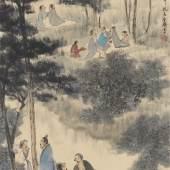 Lb.-Nr. 351 173 Fu Baoshi (1904-1965) Die Neun Alten von Xiangshan. Datiert: 1956 Tusche und Farben auf Papier, 89 x 44.5 cm Schätzpreis: € 100.000 – 150.000,-