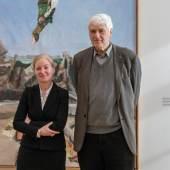 """Klaus Fußmann und Ortrud Westheider, Direktorin Museum Barberini bei der Pressekonferenz zur Ausstellung """"Klaus Fußmann. Menschen und Landschaften"""", Photo: Helge Mundt, © Museum Barberini"""