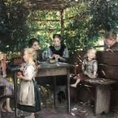 """Otto Piltz (1846 - 1910) """"Kinder in der Gartenlaube""""   76 x 100 cm Öl auf Leinwand   Galerie Gabelsberg"""