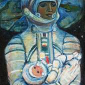 Gallery : National Centre for Contemporary Arts Title : Cosmic Mother Artist : Galina Konopatskaya Date : 1970 Medium : Oil on canvas Courtesy : Courtesy of National Centre of Contemporary Arts Dimension : 124 x 91