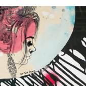 """Katharina Schnitzler, Frau als Törtchen """"Punk"""", 2017 Zeichnung, Mischtechnik auf Papier 70 x 90 Foto: © Fürcho GmbH"""