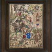 LOWELL LIBSON & JONNY YARKER LTD John Bingley Garland (1791 - 1875) The Blood Collages, c. 1850-60 Collage of engravings and gold paper with gouache and gold paint with extensive inscriptions in pen and ink on buff backing paper 520 × 390 mm. (20 ½ × 15 ⅜ in.)