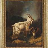 Gauermann, Friedrich (1807 Miesenbach - 1862 Wien) Öl/Lwd. Landschaft mit zwei Bergziegen.  Aufrufpreis:1.200 EUR Schätzpreis: Zuschlagspreis:3.000 EUR