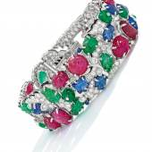 Gem-Set, Diamond and Enamel 'Tutti Frutti' Bracelet, Cartier, estimate $600-800,000