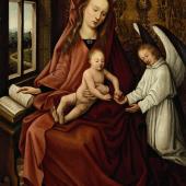 Gem. Maria mit Kind  Öl / Holz  Min. besch.  29,5 x 19 cm   Friedländer schreibt ein vergleichbares Gemälde Hans Memling zu, Schätzpreis EUR 3.000,-