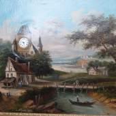 """J.de la Vallez """"Bilderuhr mit romantischer Berglandschaft"""",Öl auf Leinwand,signiert,mit 8-Empire-Tagewerk mit senkrechtem Haken,Fadenaufhängung,Halbstunden-Schlagwerk und 3 Melodien-Musikspielwerk(Blaue Donau,Wiegenlied von Brahms und Geschichten aus dem"""