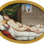 """Bildtitel: """"Venus von Urbino"""", Emailminiatur nach Tizian, um 1800, Sammlung Dr. Löer, Neues Schloss Bayreuth"""