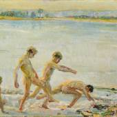 """Georg Gelbke """"Laufende Jungen am Wasser."""" Wohl um 1910.  50,3 x 60,3 cm. 2400 €"""