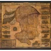 """Georg Matthäus Vischer (1628–1696), """"Karte der Steiermark als Kopf des Kriegsgottes Mars"""", 1681,  Radierung, coloriert, auf Leinwand, Alte Galerie"""