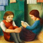 Georg Schrimpf Zwei Mädchen auf der Ofenbank 1927 Öl auf Leinwand 71 x 59cm Ergebnis: 76.800 Euro