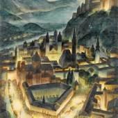 Georg Jung Die Festspielauffahrt, 1929 Aquarell auf Papier © Privatbesitz © Bildrecht, Wien