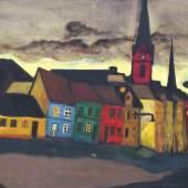 Robert Hammerstiel Abend in Flensburg, 1985 Öl auf Hartfaser 65 x 85 cm  Zur Verfügung gestellt von: Galerie Gerlich