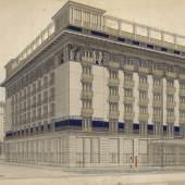 HOTEL WIEN, 1912 Rudolf Weiß Bleistift, Feder in Schwarz, Deckfarben, Goldfarbe © Wien Museum/Peter und Birgit Kainz