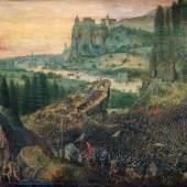 Pieter Bruegel d. Ä. (um 1525/30 vermutlich in Breugel oder Antwerpen - 1569 Brüssel) Selbstmord Sauls 1562, Öl auf Holz, 33,5 x 55 cm Kunsthistorisches Museum, Gemäldegalerie © KHM-Museumsverband