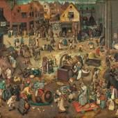 Pieter Bruegel d. Ä. (um 1525/30 vermutlich in Breugel oder Antwerpen - 1569 Brüssel) Kampf zwischen Fasching und Fasten  1559, Öl auf Holz, 118 x 164,5 cm Kunsthistorisches Museum, Gemäldegalerie © KHM-Museumsverband