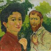 Giovanni Giacometti (1868-1933) Annetta und Giovanni Giacometti, um 1902/03 Öl auf Karton; 16,5 x 19,5 cm Nachlass Bruno Giacometti