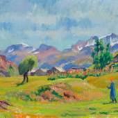 GIOVANNI GIACOMETTI Fienagione (Heuernte). 1932. Öl auf Leinwand. 51 x 60 cm. CHF 120 000 / 180 000