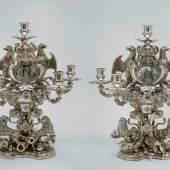 1733 für König Friedrich Wilhelm I. gefertigt: zwei silberne Girandolen. Foto: SPSG/Daniel Lindner