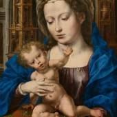 JAN GOSSAERT Maria mit Kind. Um 1530. Öl auf Holz. 44,5x34 cm. CHF 1,8 / 2,2 Millionen Auktion 28. März 2014