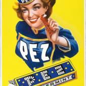 Lot Nr. 86 PEZ PEPPERMINT abgekantetes Emailschild, 48 x 7 cm, Deutschland, 1950er Jahre Rufpreis € 2.000  Copyright Dorotheum