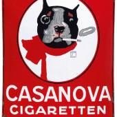 Lot Nr. 77 CASANOVA CIGARETTEN gewölbtes Emailschild, 59 x 74 cm Deutschland, 1920er Jahre Rufpreis € 2.500 Copyright Dorotheum
