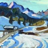 Gabriele Münter (1877 - 1962) Winter in Elmau, 1933, Öl/Sperrholz, 33 x 45 cm Schätzwert € 260.000 - 300.000 Auktion 28. November 2013