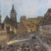 Gotthardt Kuehl, Pirna - Blick auf den Marktplatz mit Canaletto-Haus. Um 1910. 49,3 x 78,5 cm, Ra. 68,5 x 98 cm. 8000 €
