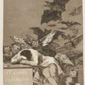Francisco de Goya Los Caprichos Aquatintaradierungen, 80 Bll., 1799 ca. 21,2 x 15 cm (c. 8.3 x 5.9 in) Schätzpreis: € 120.000-150.000