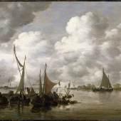 Jan van Goyen Fischerboote beim Abrüsten am Abend, 1655/56 Öl auf Eichenholz, 33 x 41 cm Privatsammlung