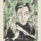 Walter Gramatté (1897–1929) Selbstbildnis unter Bäumen, 1921 Kreide- und Pinsellithographie in Schwarz, Grün und Rot (Drei Steine), 492 x 385 mm © Hamburger Kunsthalle / bpk Foto: Christoph Irrgang
