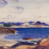 Martyn Gregory, Derwent Lees, NEAC (1885-1931), The coast at Cavtat, Yugoslavia watercolour over traces of pencil?, 10 ¾ x 15 ¼ in (27.8 x 38.3 cm)?, signed?