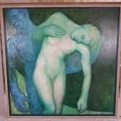 """Griesel, Bruno (*1960 Jena) - """"Camille"""", Öl auf Leinwand, 1993, rechts unten signiert und datiert, ca.150x150cm, Aufrufpreis:4.500 EUR"""