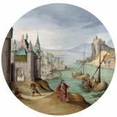 ABEL GRIMMER (ca. 1570 Antwerp 1620). Fünf Allegorien der Monate Februar, März, April, Oktober und Dezember. Öl auf Holz. Je D 25 cm. CHF 500 000 / 700 000.