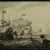 """Seeschlacht aus den Englisch-Niederländischen Seekriegen, Grisaille (Feder und Tinte auf Holz, sog. """"penschilderij"""")  17 x 24 cm, Schätzpreis EUR 2,000,-"""