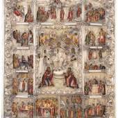 Grosse Festtagsikone mit vergoldetem Silberoklad Russisch, 19. Jh. (1) Ikone. Schule von Palech, datiert 1809. Schätzpreis:6.000 - 9.000 CHF
