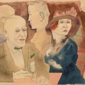 George Grosz (1893-1959),  Im Café, 1922, Aquarell, Feder, Tusche auf Papier, Galerie Brockstedt, Berlin © Estate of George Grosz, Princeton N.J. / VG Bild-Kunst, Bonn 2019