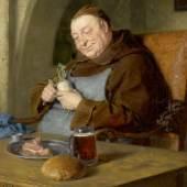 A162/3219 EDUARD VON GRÜTZNER (Gross-Karlowitz 1846-1925 München) Sitzender Mönch beim Mahl. 1917. Öl auf Leinwand. Unten rechts signiert und datiert: Ed. v.Grützner. 1917. 50,5x40 cm.  CHF 35 000 / 45 000