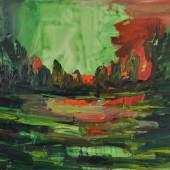 Gabi Streile, Landschaft zinnober, 2008, Öl auf Leinwand, 120 x 160 cm
