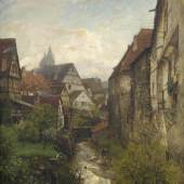 Gustav Schönleber (1851-1917)  Partie in der Esslinger Altstadt am Stadtgraben mit den beiden Türmen der Stadtkirche im Hintergrund. Öl/Lwd., unten links signiert und datiert 1880   124 x 97 cm