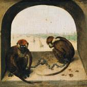 Pieter Bruegel d. Ä. (um 1525/30 vermutlich in Breugel oder Antwerpen - 1569 Brüssel) Zwei angekettete Affen 1562  Eichenholz, 19,8 × 23,3 cm  Staatliche Museen zu Berlin, Gemäldegalerie © Staatliche Museen zu Berlin, Gemäldegalerie / Christoph Schmidt